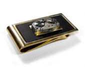 Money Clip with Pinstripe Watch Mechanism