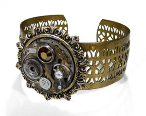 Steampunk Jewelry Bracelet Brass Lattice Cuff Brass Fleur-De-Lis Setting Grunge Movement Olive Crystal