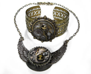 Steampunk Jewelry Necklace Brass Industrial Grunge Wings Bronze Crystal by EDMDesigns