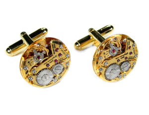 Luxury Men's Cufflinks by EDMDesigns Jules Jurgensen Gold Watch Cufflinks Steampunk Jewelry