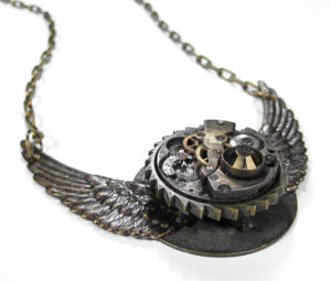 Industrial Steampunk Necklace Jewelry Grunge Design Flight to the Past by EDMDesigns