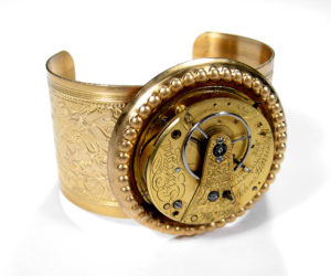 EDMDesigns Gold English Pocket Watch Steampunk Cuff Bracelet