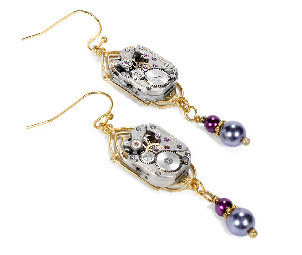 EDM Designs Steampunk Earrings Gold Brass Settings Vintage Silver Watch Movements with Burgandy and Pale Blue Bead Dangles