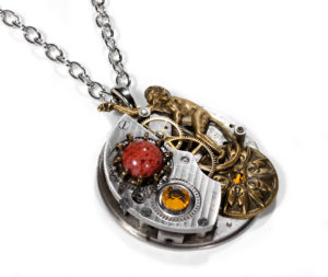 EDM Designs Unique Pinstripe Pocket Watch Necklace with Brass Monkey, Coral Cab and Swarovski Crystal
