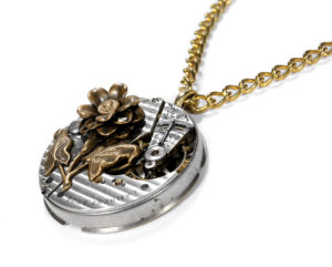 Pinstripe Antique Pocket Watch with Brass Floral Accent Steampunk Necklace by EDM Designs