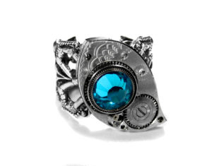 EDM Designs Etched Pocket Watch Part Steampunk Ring with Turquoise Crystal