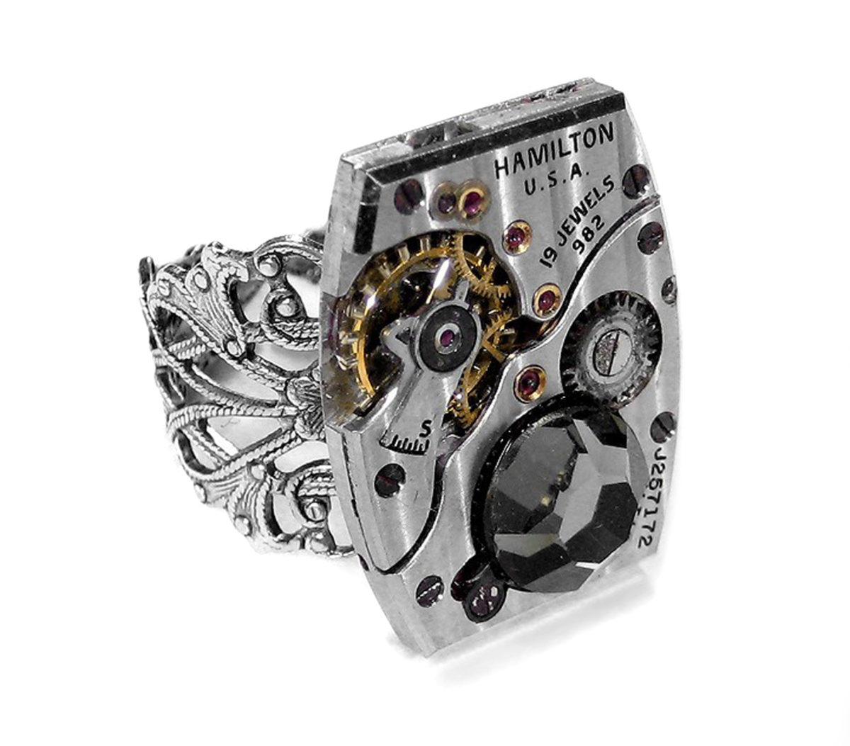 EDM Designs Silver Hamilton Pinstripe Tank Watch Mechanism Adjustable Ring with Smoke Crystal Accent Steampunk Jewelry