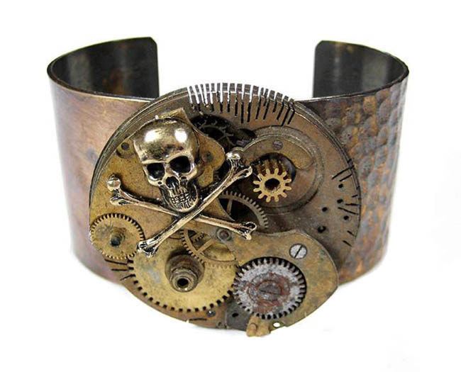 Pocket Watch Skull Steampunk Cuff Bracelet Gears and Cogs by EDMDesigns