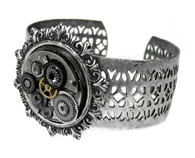 Steampunk Bracelet EDM Designs Grunge Pocket Watch Gears Lattice Cuff