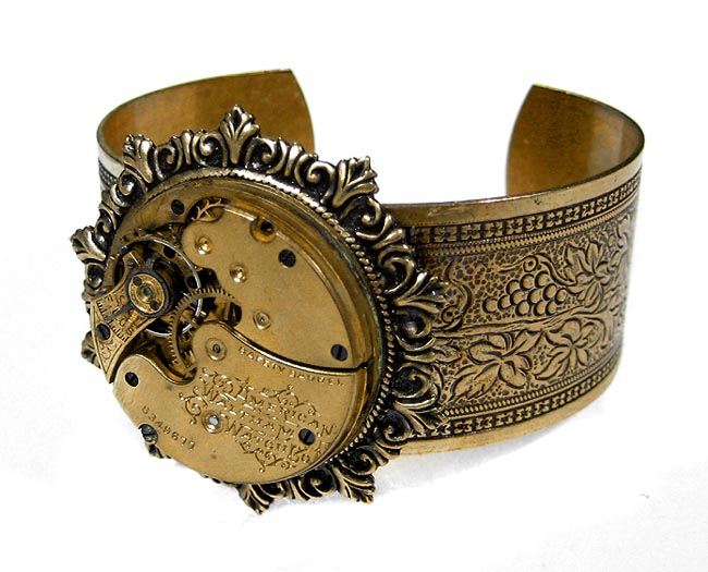 Steampunk Victorian Cuff Bracelet Golden Pocket Watch Bracelet Womens Wedding Anniversary STUNNING Jewelry by EDM Designs