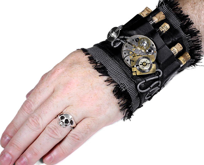 Steampunk Cuff GEARS Mens Black Leather APOTHERCARY Cuff Vials Metal Coils BURNING MAN Cuff Arm Band Clothing Accessories by edmdesigns