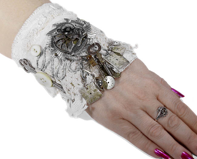 EDMDesigns Steampunk Bridal Cuff Leather Ivory Lace UNiQUE Gears Pocket Watch Bird CHATELAINE Style Steam Punk Weddings