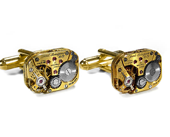Mens Cufflinks GIRARD PERREGAUX Gold Steampunk Watch Cuff Links Wedding Anniversary Groom Engagement Fathers Day GORGEOUS Jewelry by EDM Designs