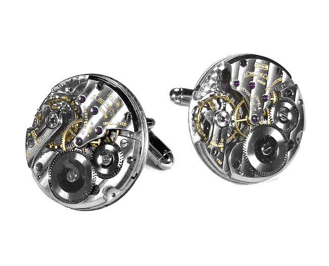 Jaeger LeCoultre Mens Watch Movements Round Pinstripe Luxury Cufflinks