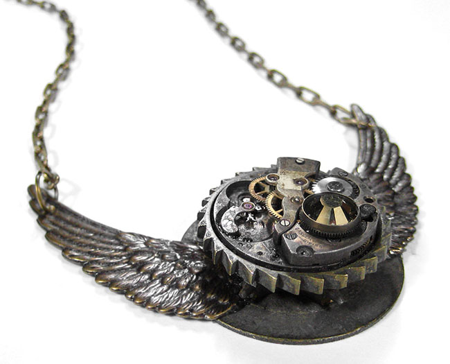 Steampunk Necklace Grunge Bronze Wings Large Gear Vintage Pocket Watch by EDM Designs