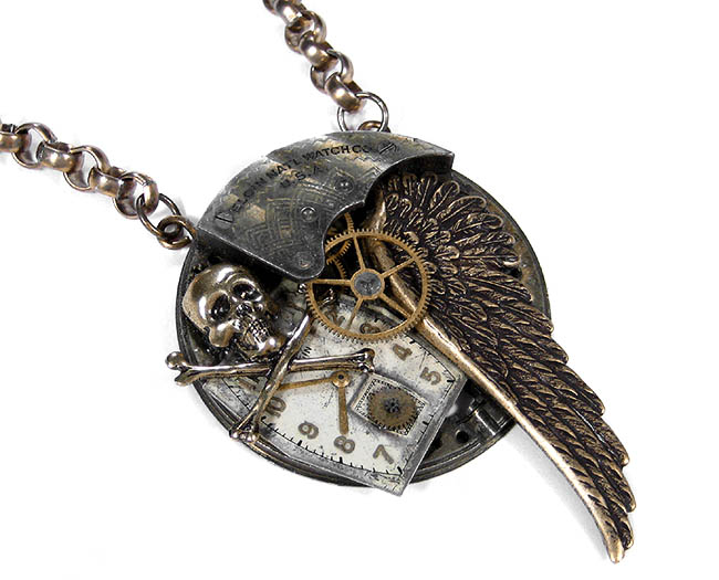Men's Steampunk Grunge Necklace Vintage Pocket Watch Brass Wing Skull and Bones Pendant Necklace from EDM Designs