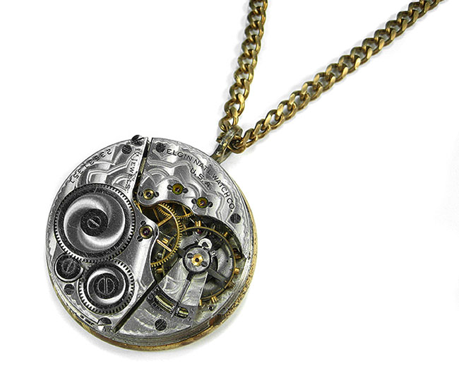 Steampunk Jewelry Necklace 1912 ELGIN Silver Guilloche Etched Pocket Watch STUNNING Anniversary Birthday Gift by EDMDesigns