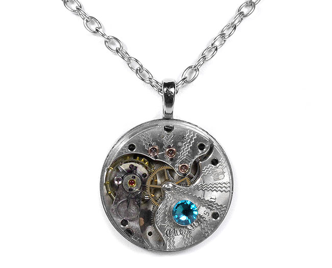 Steampunk Jewelry Necklace Silver Pocket Watch Guilloche ETCHED Turquoise Crystal by EDM Designs