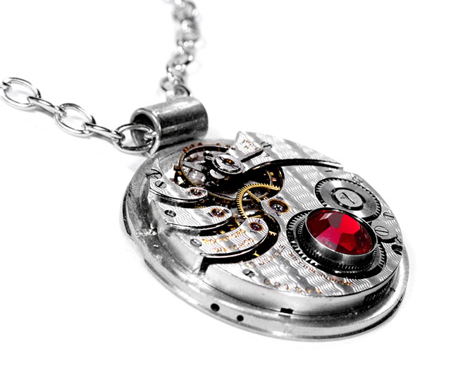 EDMDesigns Steampunk Jewelry Necklace RARE 1916 ELGIN Silver PINSTRIPED 2 Tone Pocket Watch Pink Crystal Bridal Gift