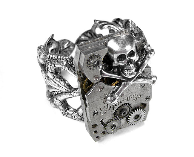 EDMDesigns Steampunk Jewelry Mens Steampunk Ring Vintage ELGIN Silver Watch SKULL GEAR Mens Rocker Biker Ring, Mens Skull Ring