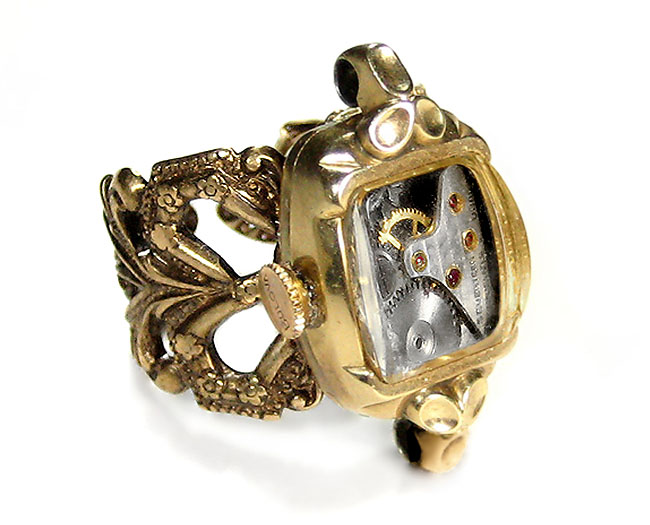 12 Karat Gold Antique Watch Case Adjustable Steampunk Ring with Vintage Watch Movement and Gold Winding Crown from EDMDesigns Steampunk Jewelry