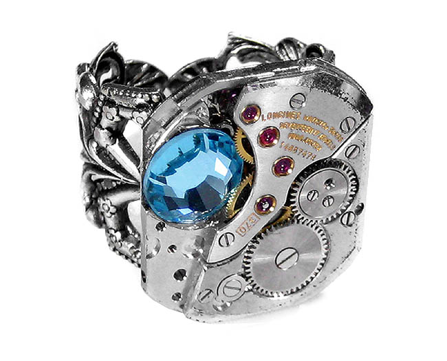 Steampunk Ring Jewelry Longines Luxury Men's Watch Movement Aqua Crystal Accent Adjustable Ring from EDM Designs