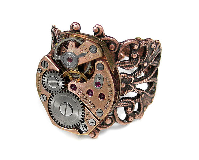 EDMDesigns Steampunk Jewelry Ring Vintage ROSE GOLD Watch Steam Punk Anniversary Mens Womens Fashion Ring Accessory