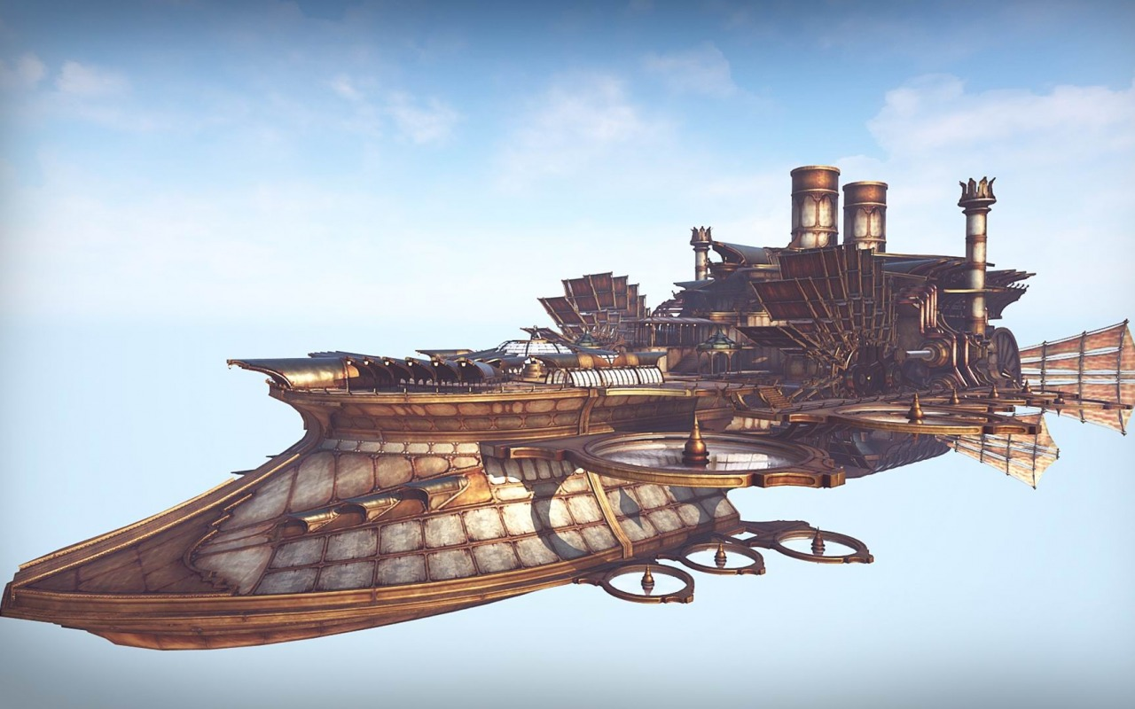 steampunk airship wallpaper