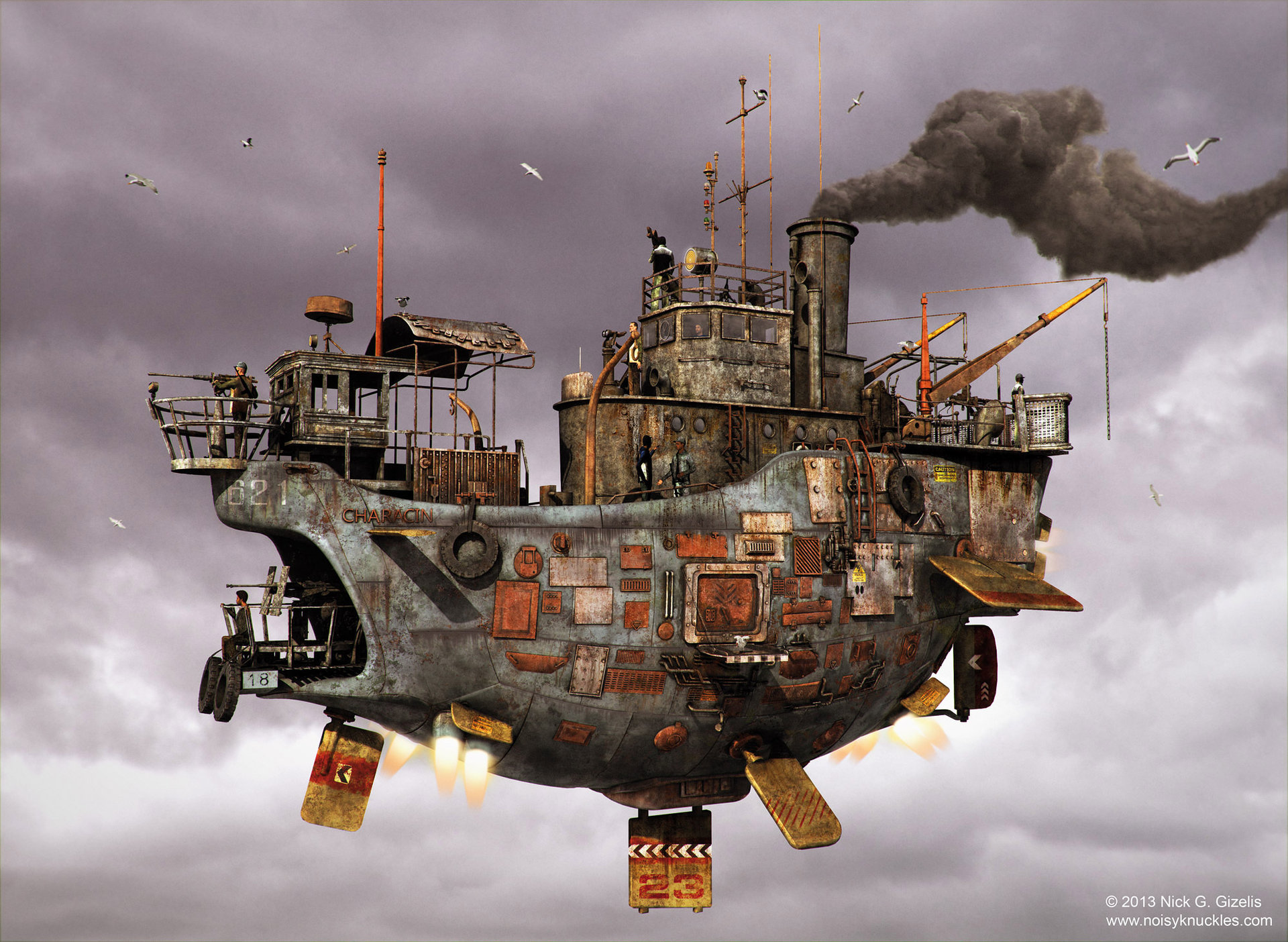 Steampunk airship by Nick Gizelis