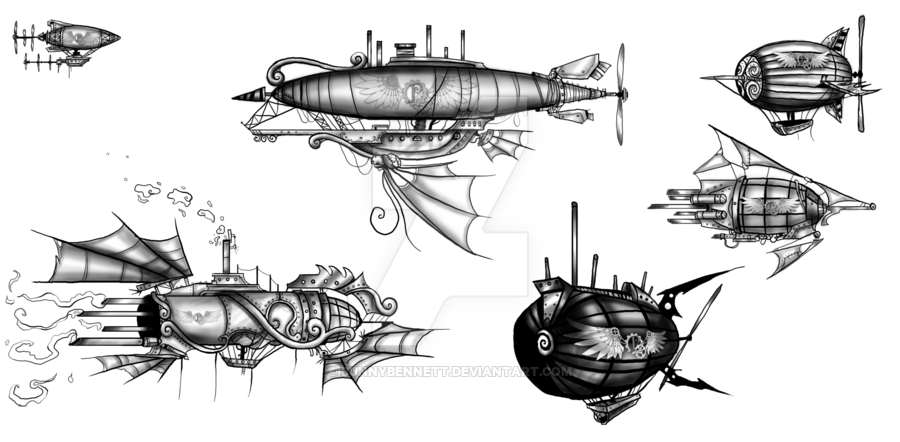 steampunk ship sketch blueprint