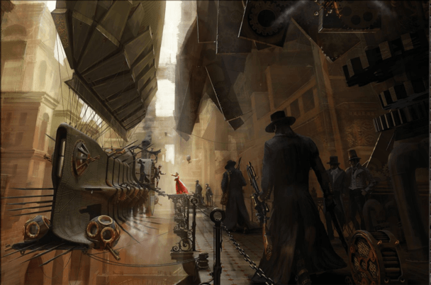 steampunk airship in city