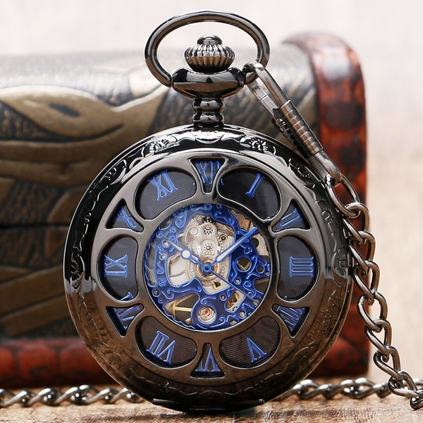 blue roman steampunk pocket watch